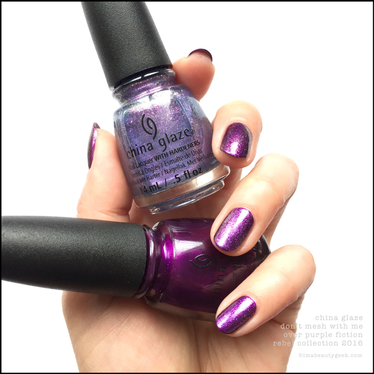 China Glaze Don't Mesh With Me over Purple Fiction_China Glaze Rebel 2016 Collection Swatches Review