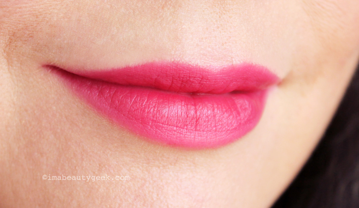 NARS Audacious Lipstick in Shirley swatch (worn as a stain)