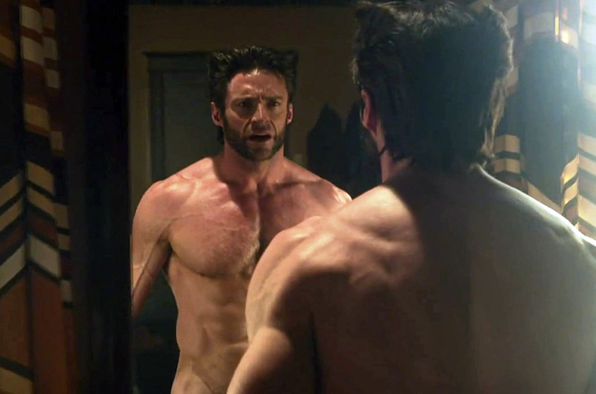 Hugh Jackman Wolverine in the buff with sun damage