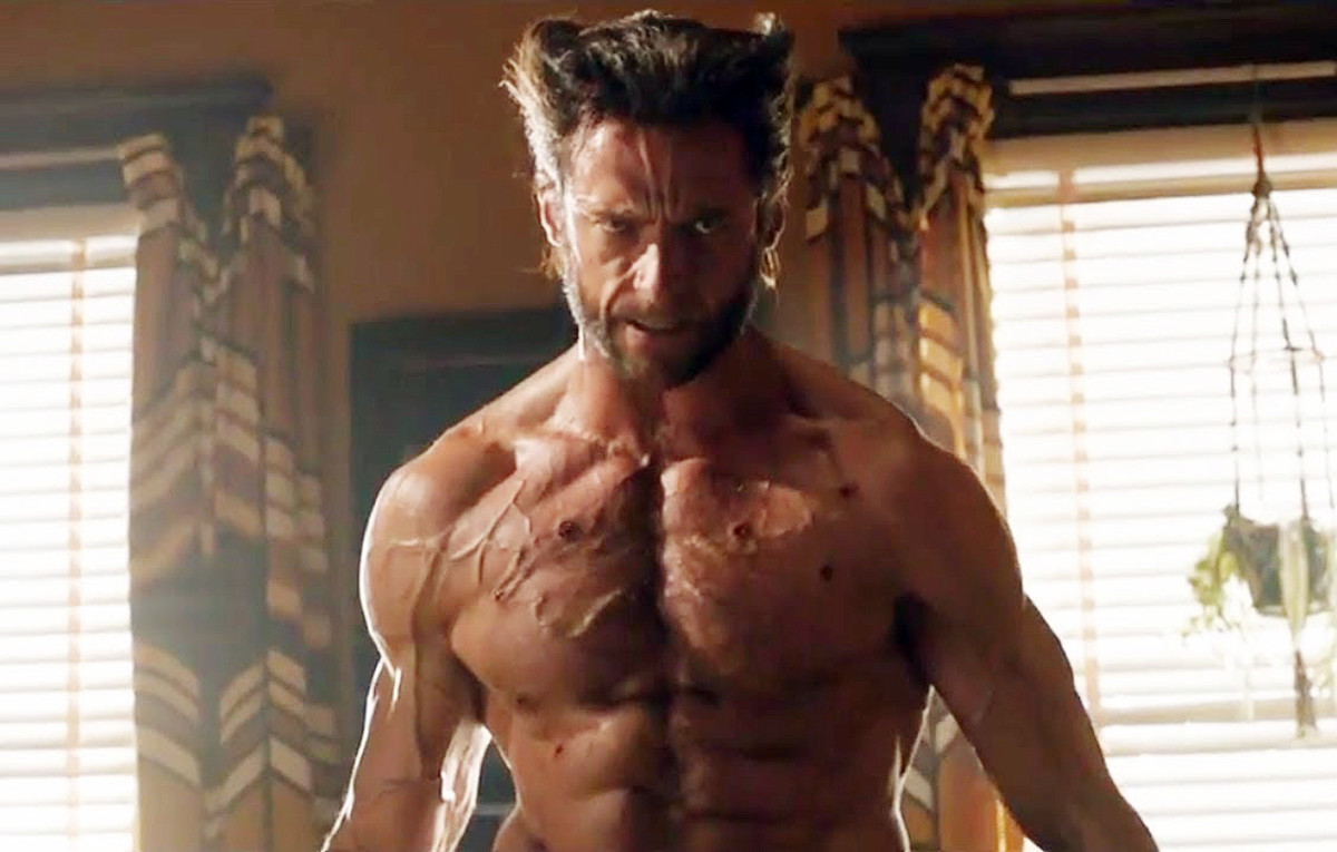 Hugh Jackman as Wolverine healing from bullet wounds... and sun damage?