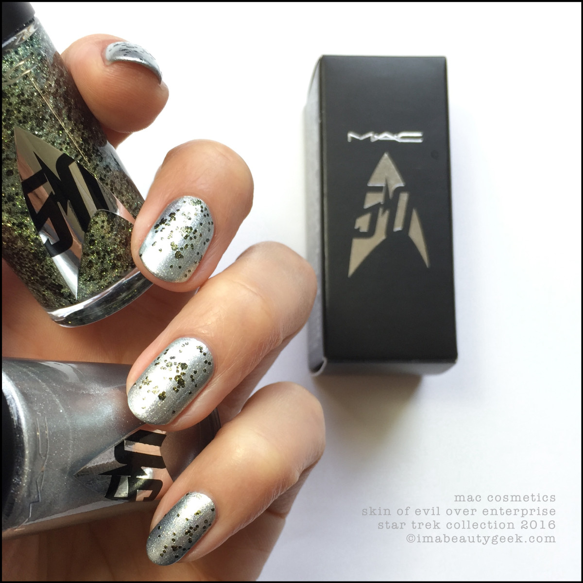Mac Star Trek Collection Skin of Evil over Enterprise Nail Polish_MAC Cosmetics Star Trek Polishes