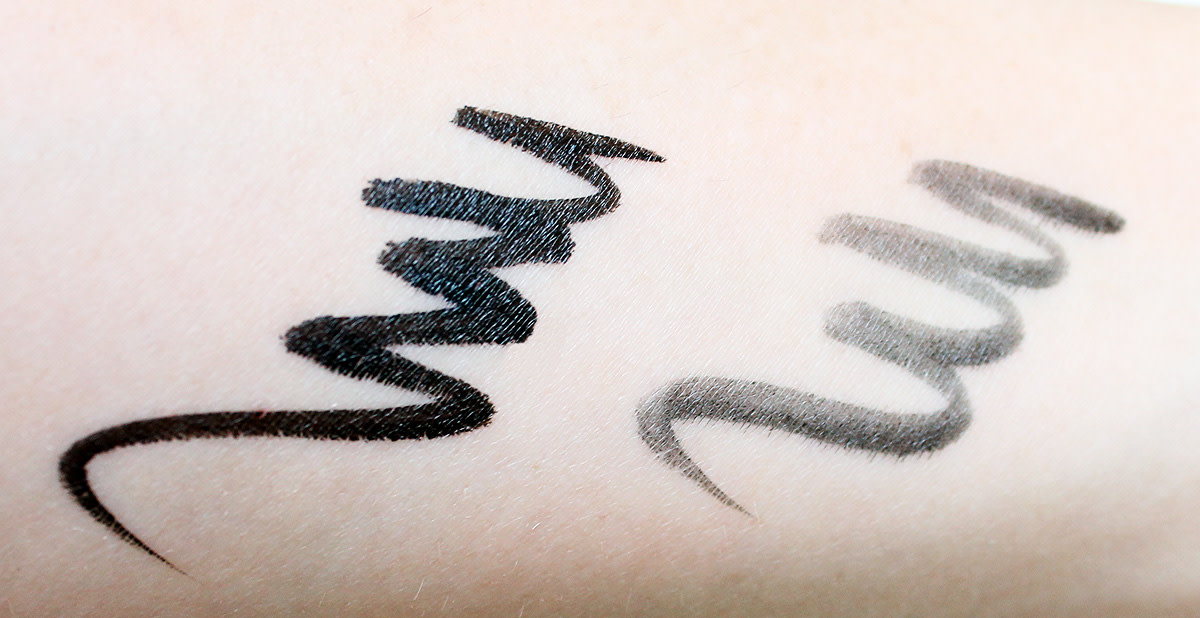 Nars Unrestricted Eyeliner Stylo swatches: satin and matte black