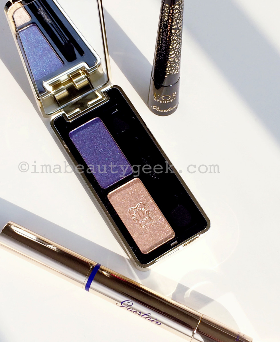 Guerlain holiday 2016 L'Or Eyeliner in Sparkling Gold, Ecrin Shalimar Eyeshadow Duo in Gold and Sapphire, and Precious Light Illuminator in Pink Pearl