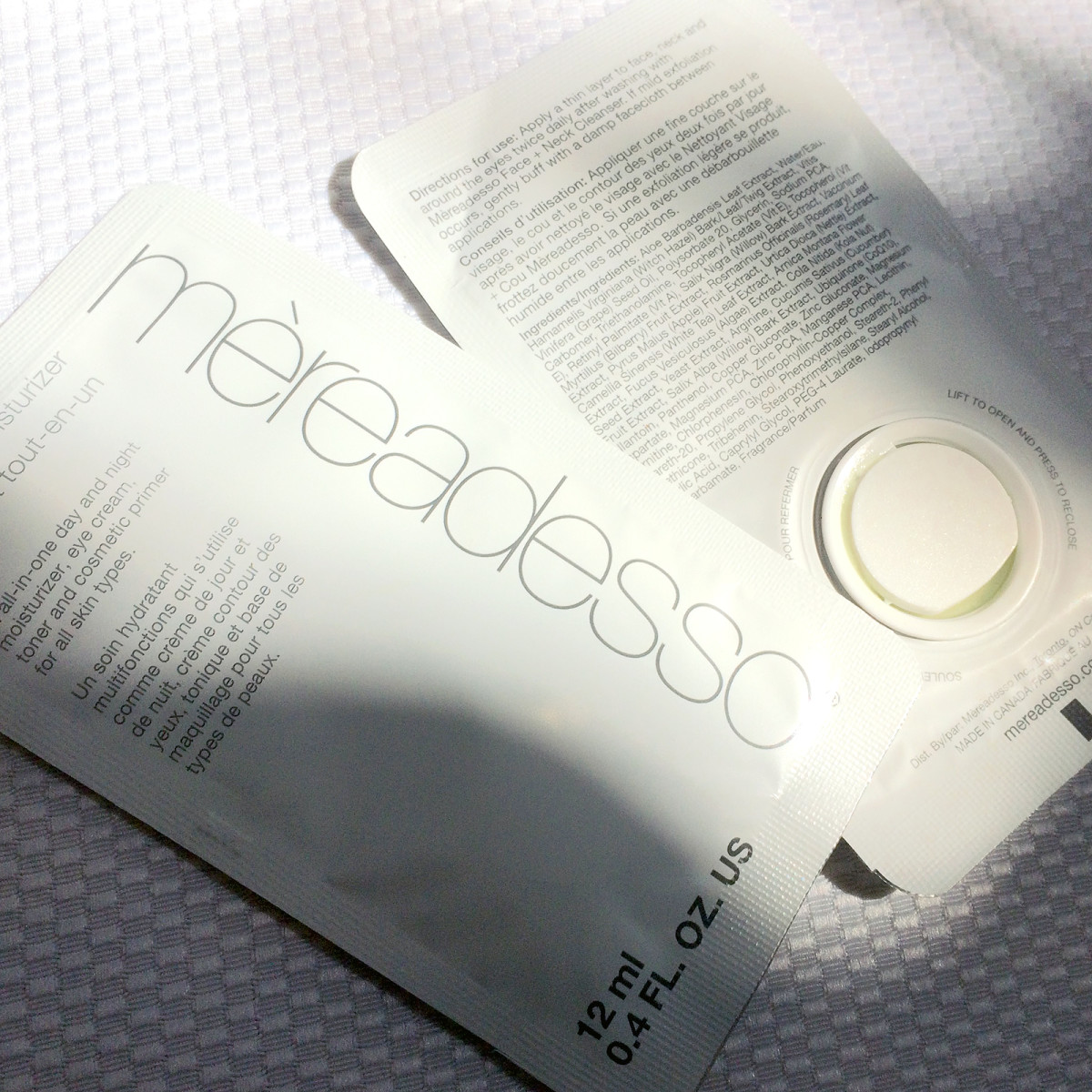 Mèreadesso All-in-One Moisturizer travel sachets
