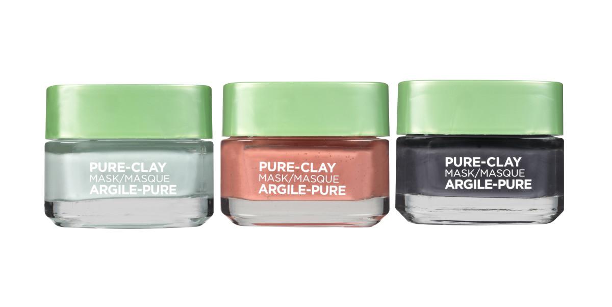 L'Oreal Paris Pure-Clay Purify & Mattify, Exfoliate & Refine, Detox & Brighten face masks