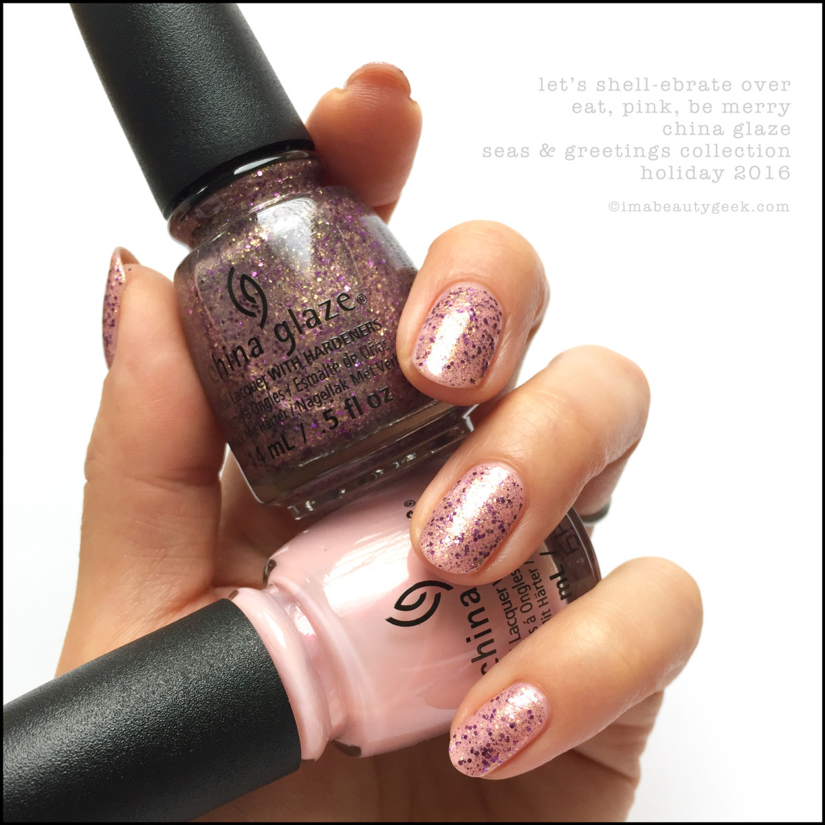 China Glaze Lets Shellebrate over Eat Pink_China Glaze Seas Greetings Holiday 2016 Swatches Review