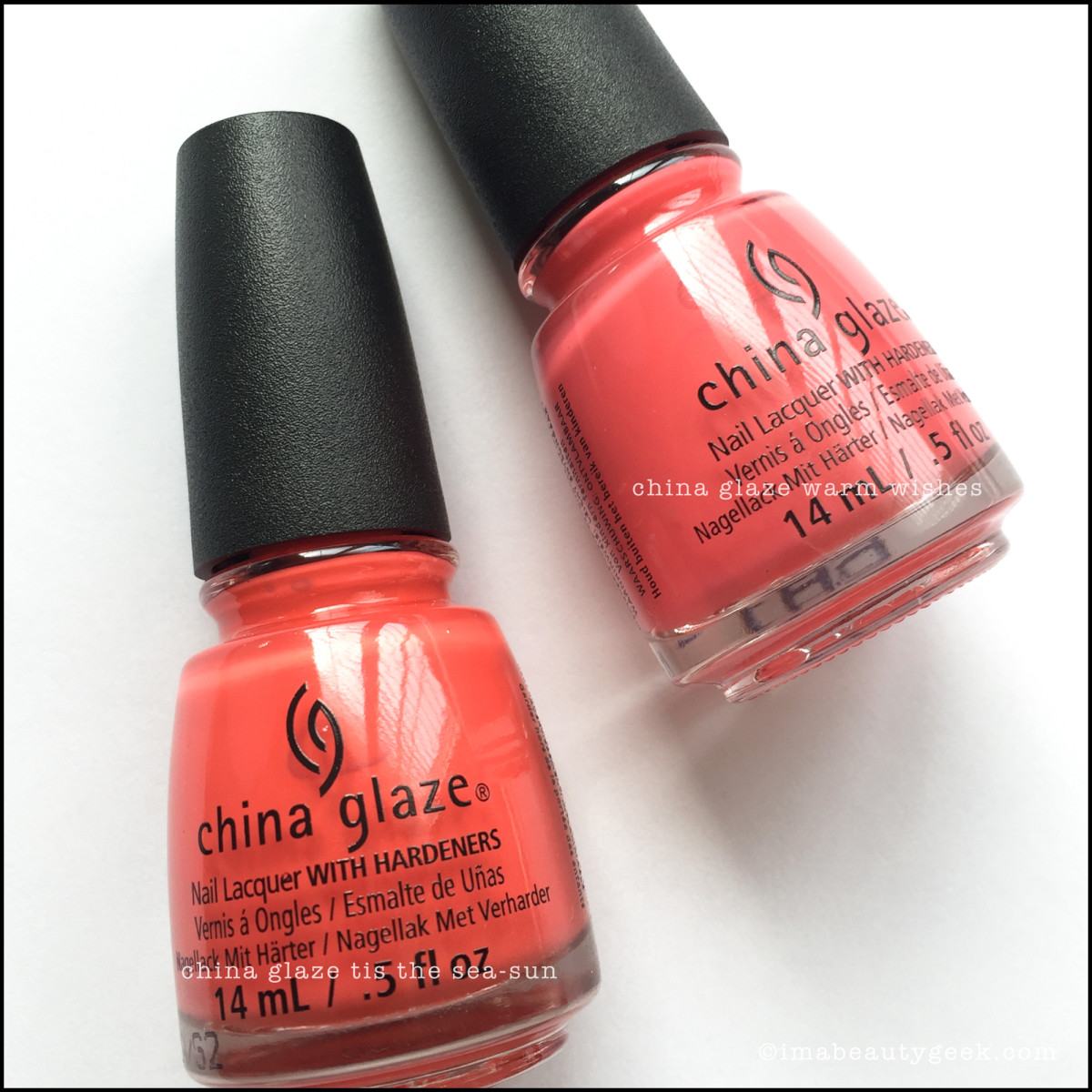 China Glaze Tis the SeaSun vs China Glaze Warm Wishes_China Glaze Seas Greetings Collection Swatches Review