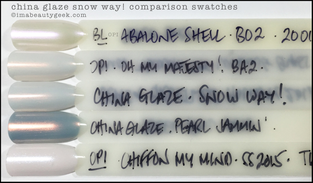 China Glaze Snow Way Comparison Swatches Dupes