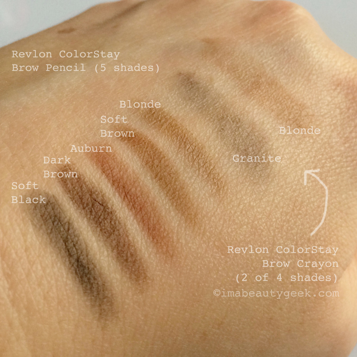 Revlon ColorStay Brow Pencil and Revlon ColorStay Brow Crayon swatches