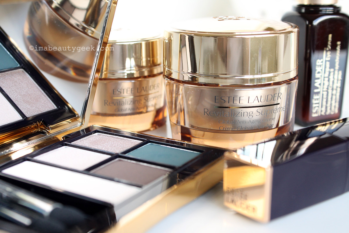 Estée Lauder Pure Color Envy makeup, Revitalizing Supreme Skincare, Advanced Night Repair serum