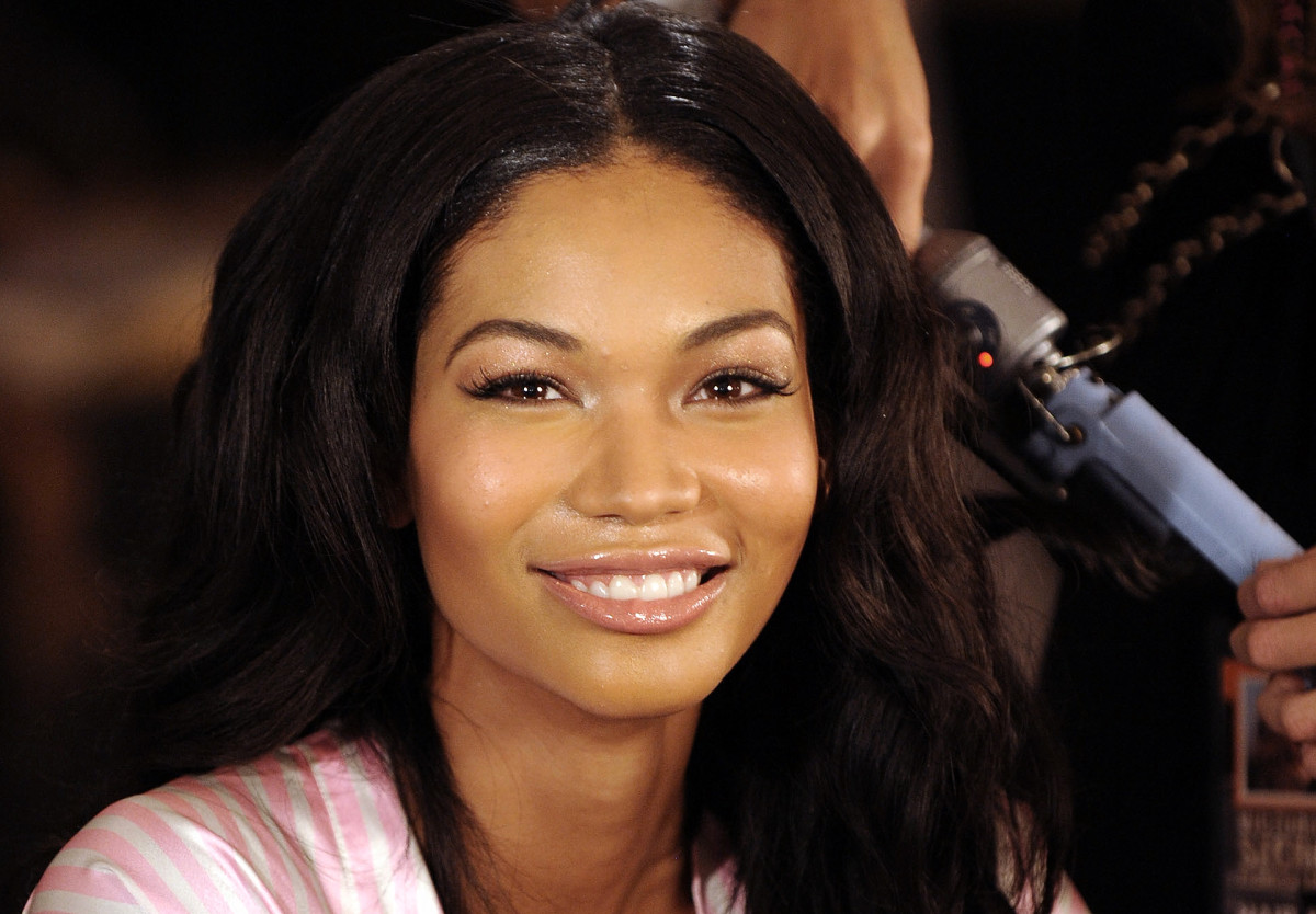 Chanel Iman_backstage at a Victoria's Secret show