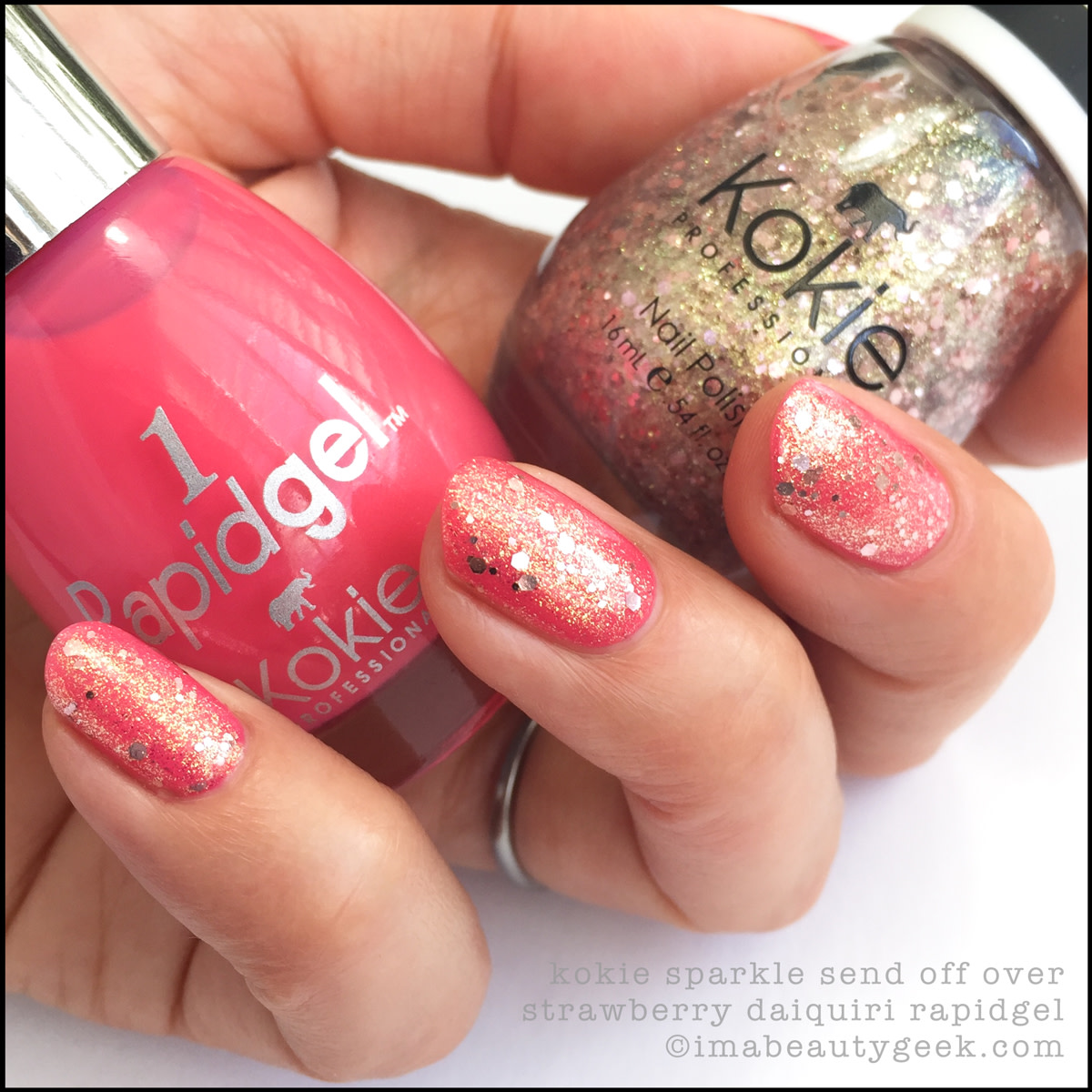 Kokie Nail Polish Sparkle Send Off over Strawberry Daiquiri_Kokie Nail Polish Swatches Review