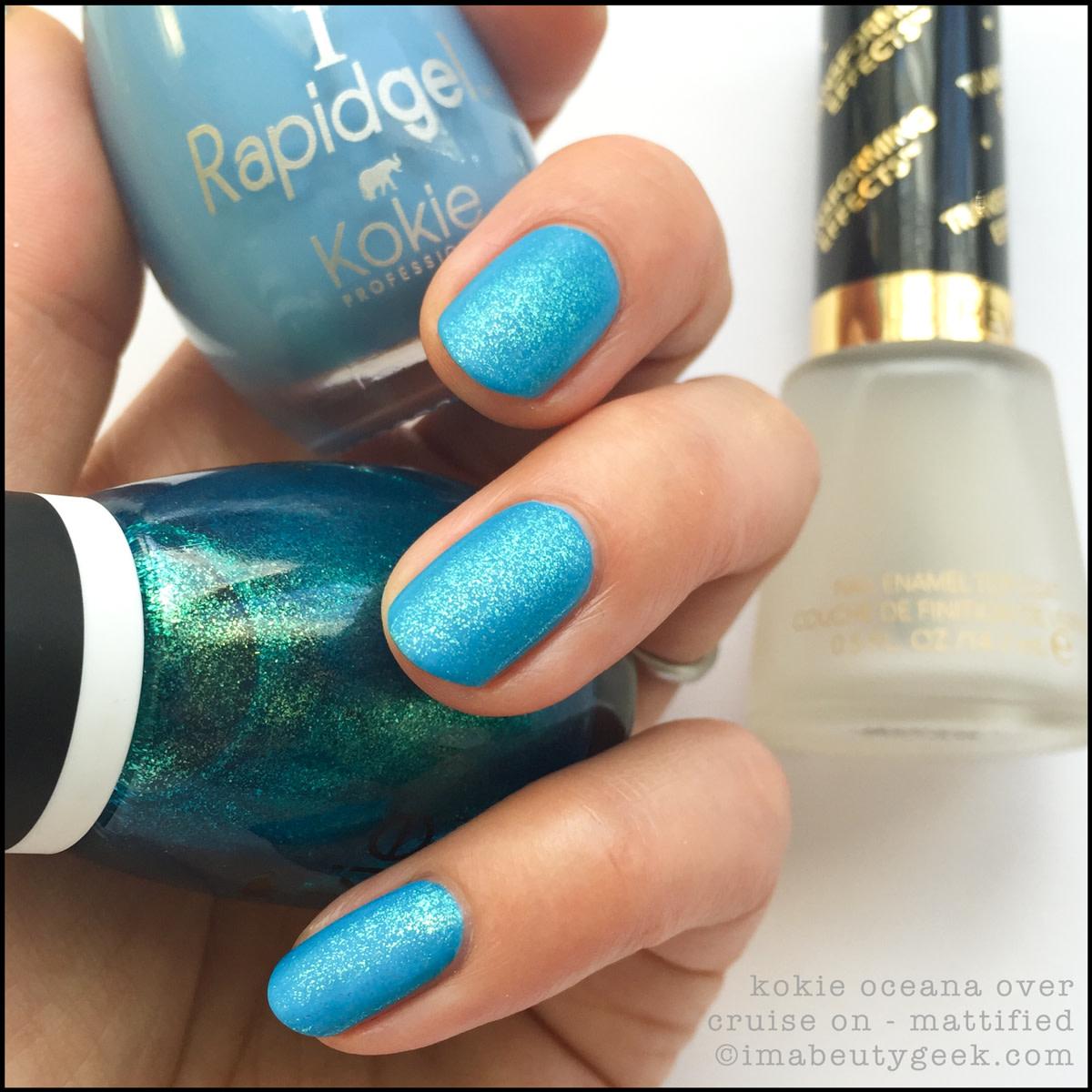 Kokie Nail Pollish Oceana over Cruise On_Kokie Cosmetics Professional Nail Polish Swatches