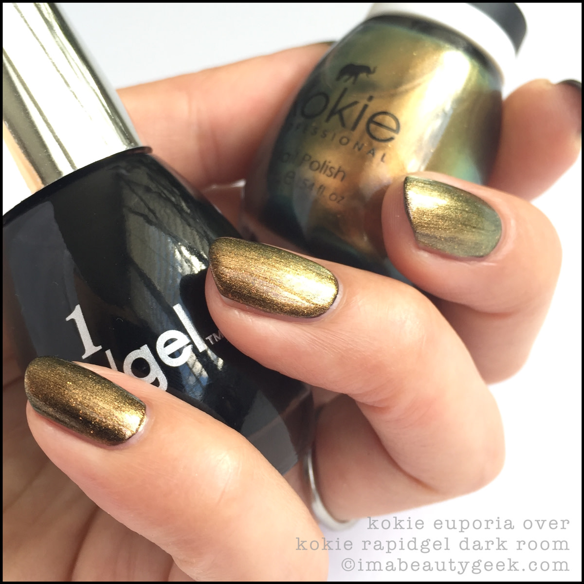 Kokie Nail Polish Euporia over Dark Room_Kokie Cosmetics Nail Polish Swatches