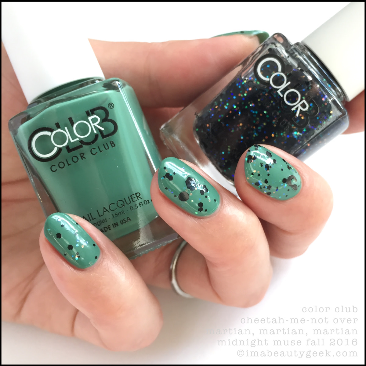 Color Club Cheetah Me Not over Martian Martian_Color Club Midnight Muse Fall 2016 Swatches Review