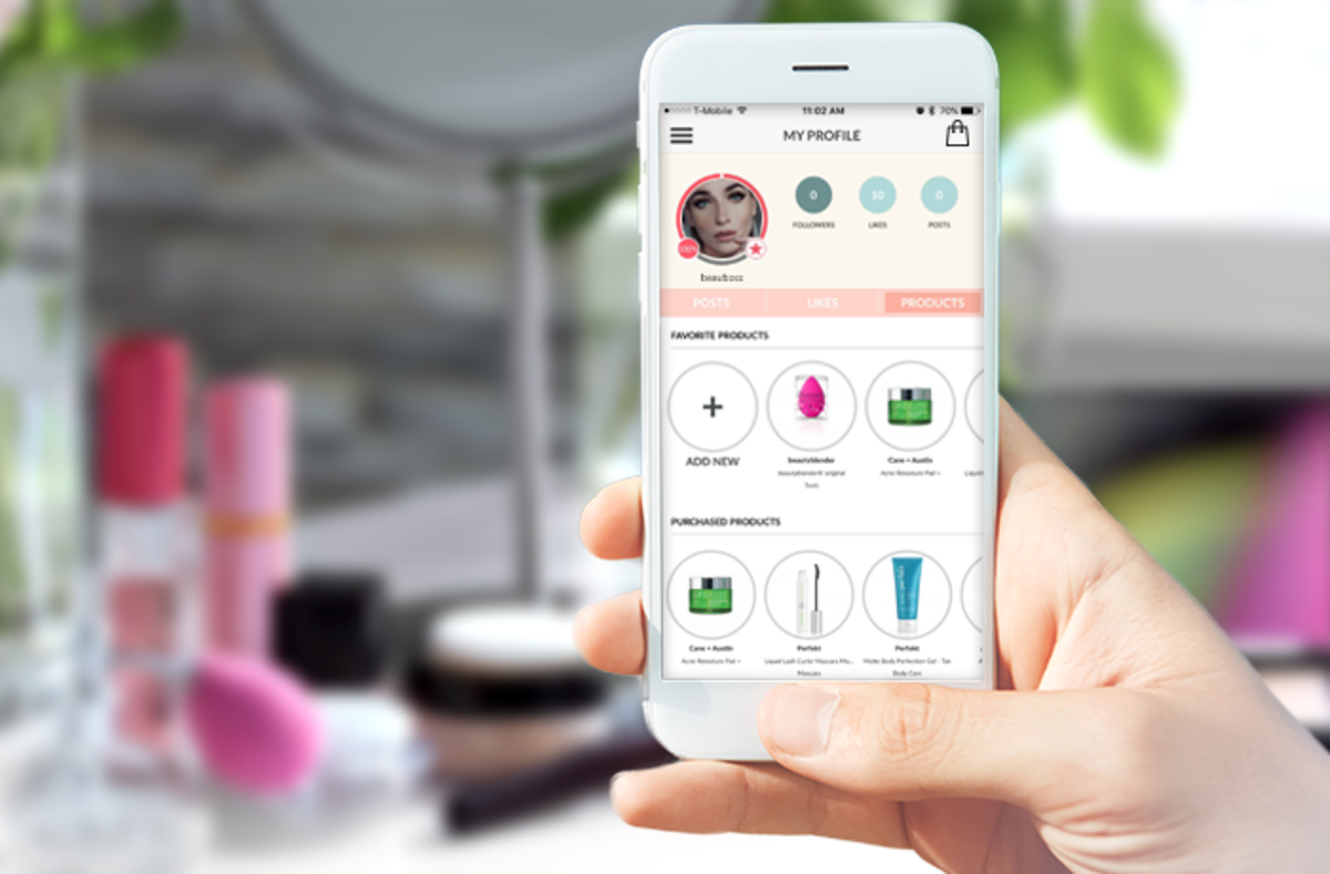A BeauByte member profile shows favourite products and a list of items purchased through the app.