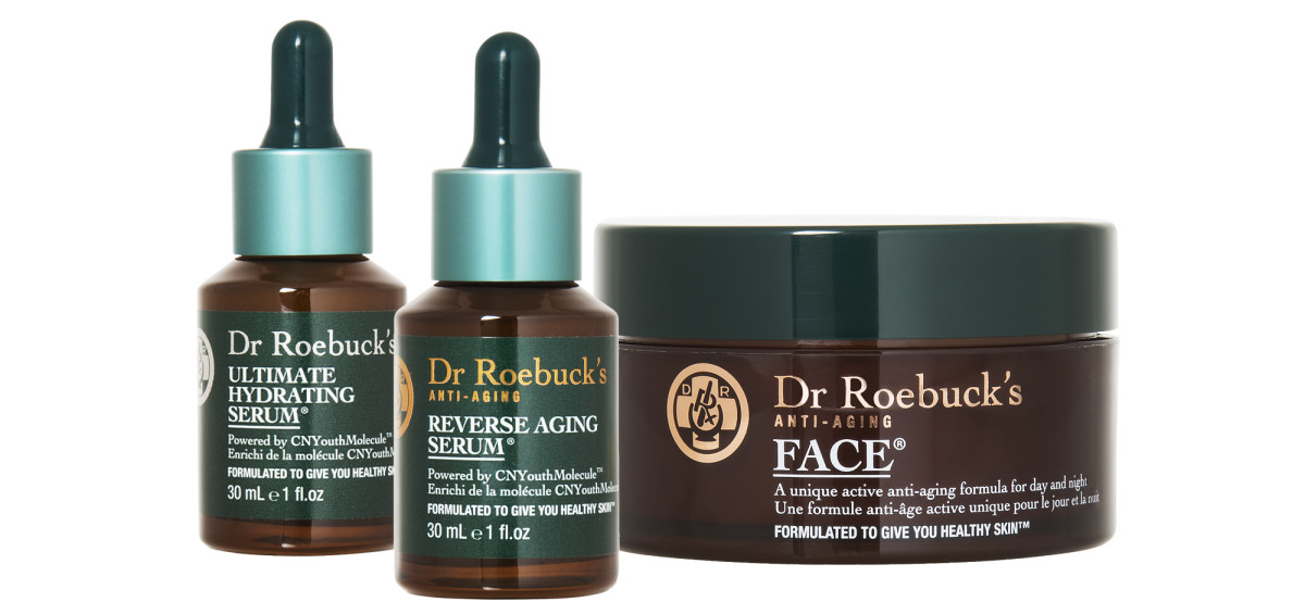 Dr. Roebuck's Ultimate Hydrating Serum, Anti-Aging Reverse Aging Serum and Anti-Aging Face cream.