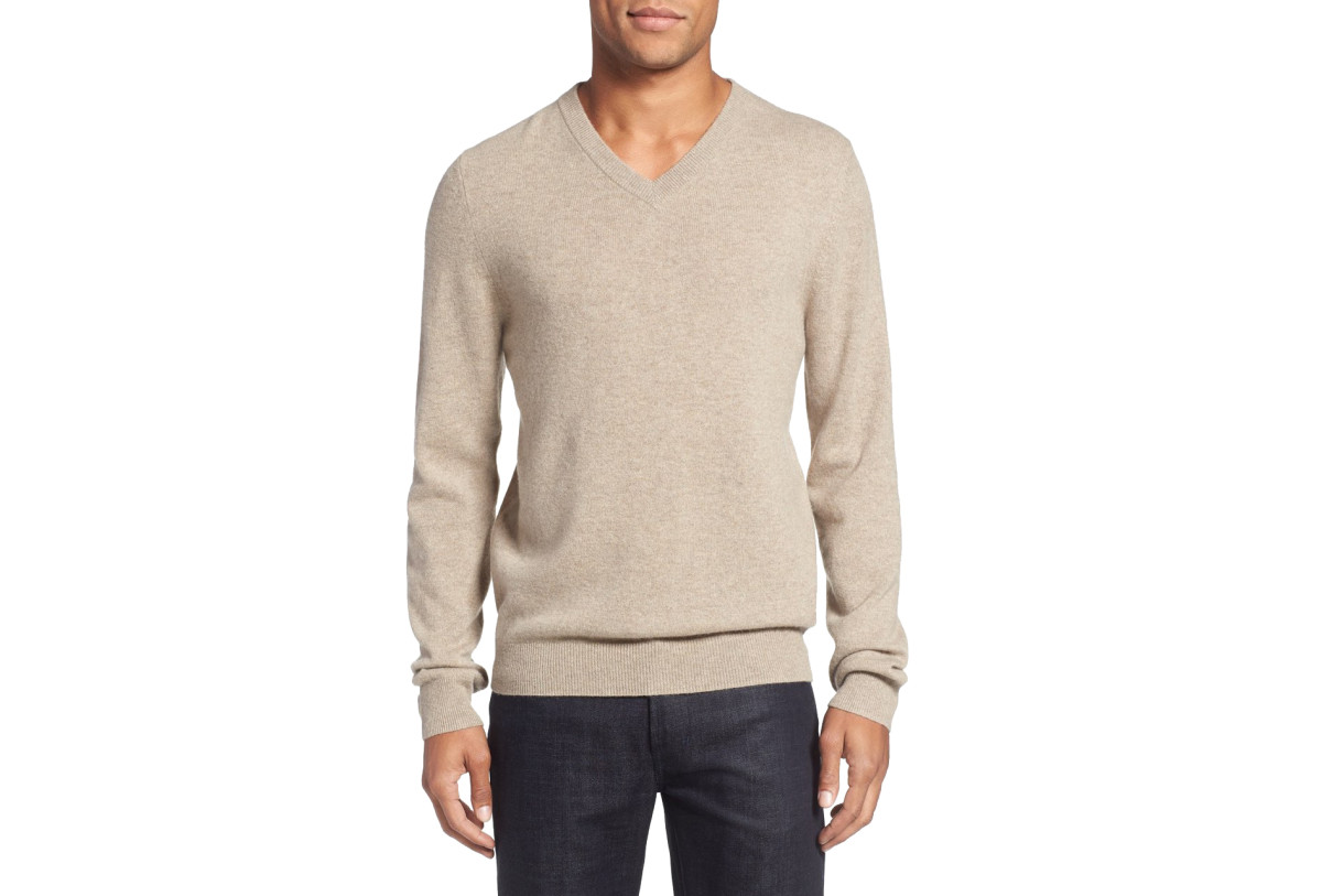 Hygge it Out: Look for generously-sized vintage v-neck cashmere sweaters in thrift-store men's sections