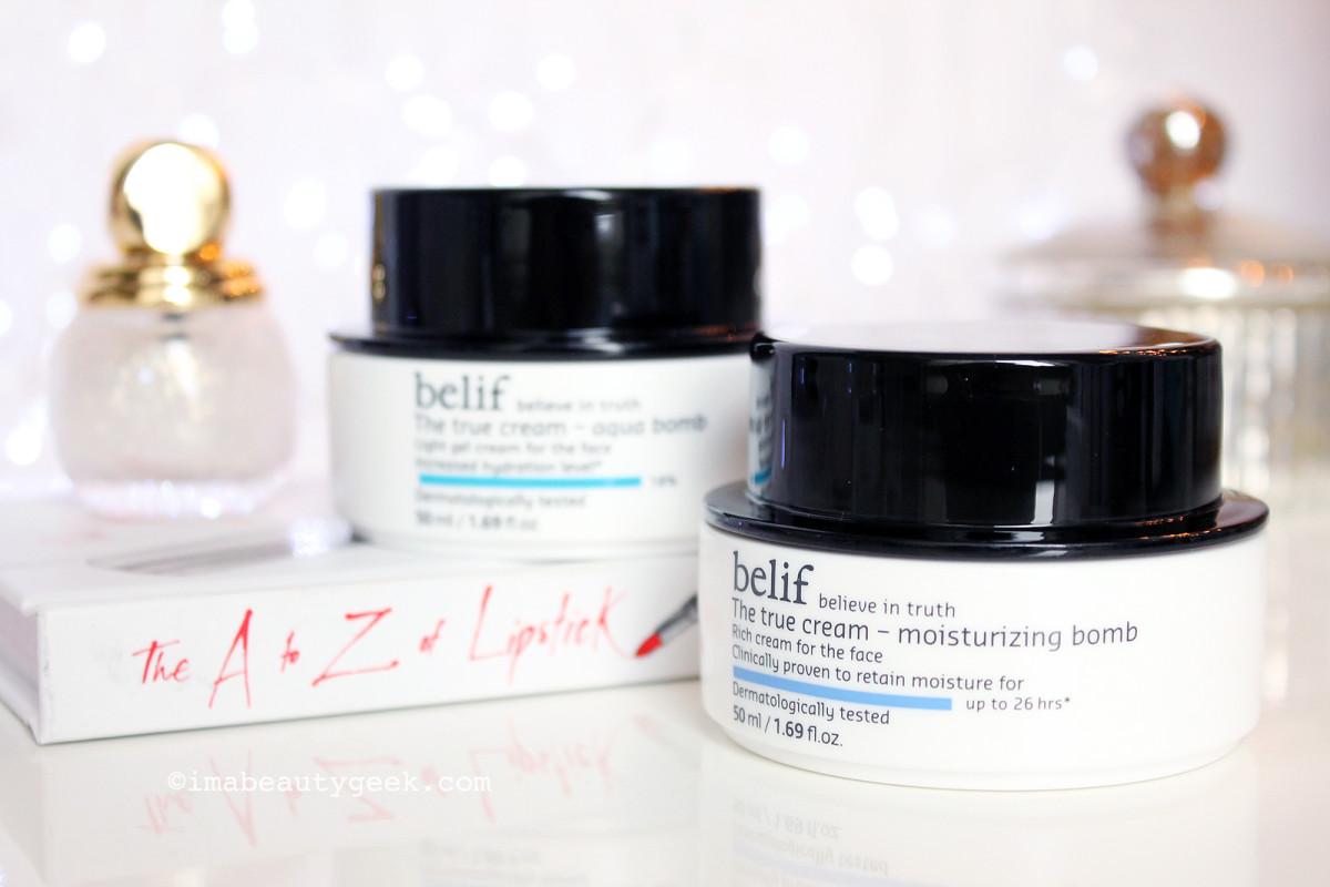 belif The True Cream Aqua Bomb and belif The True Cream Moisturizing Bomb