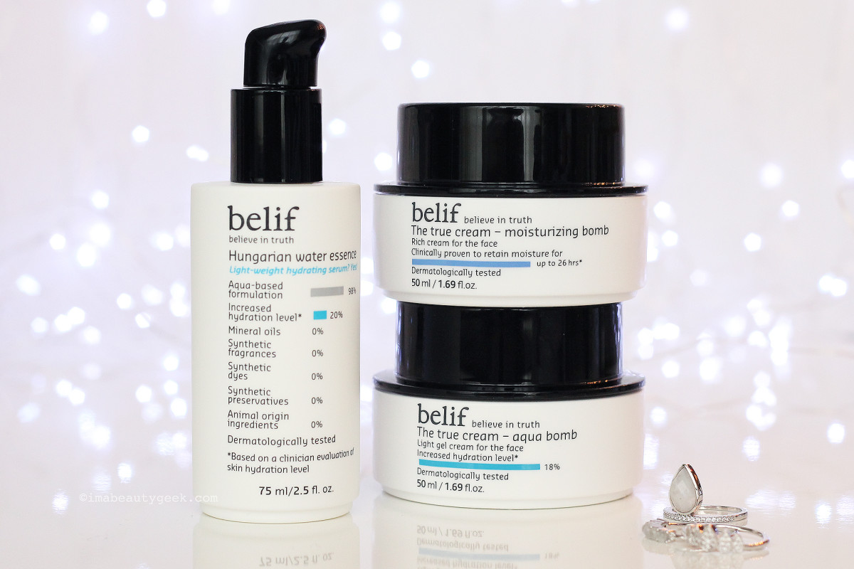 belif Hungarian Water Essence, True Cream Moisturizing Bomb and True Cream Aqua Bomb