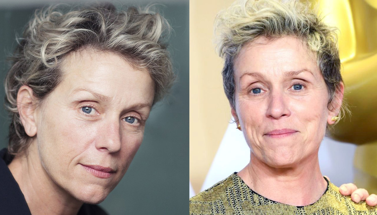 Frances McDormand with a hint of makeup; bare-faced at the 2018 Oscars