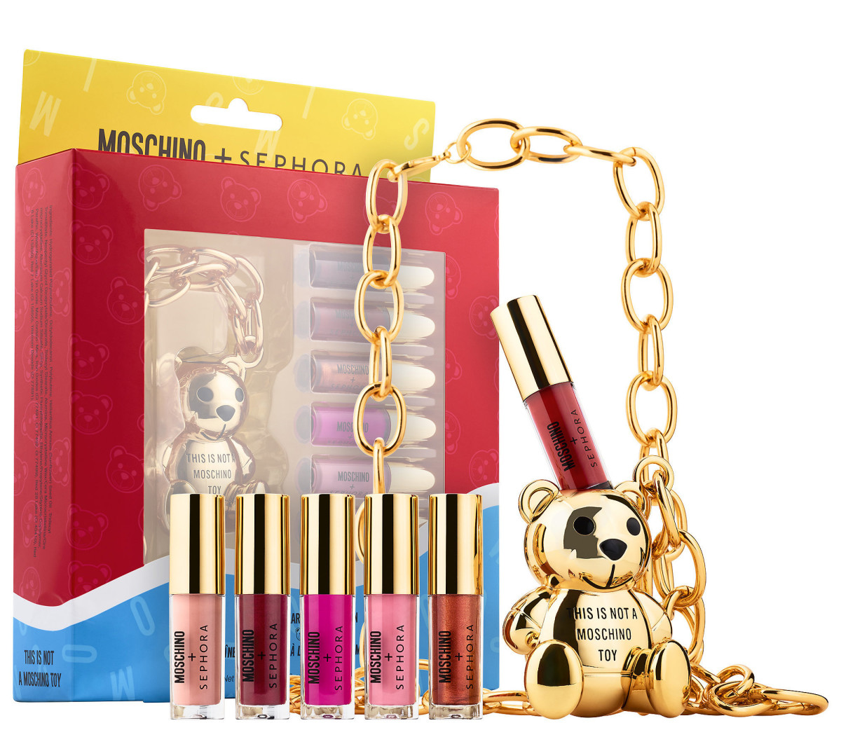 This limited-edition Moschino + Sephora Collection Bear Lip Gloss Chain is back! – for another limited time