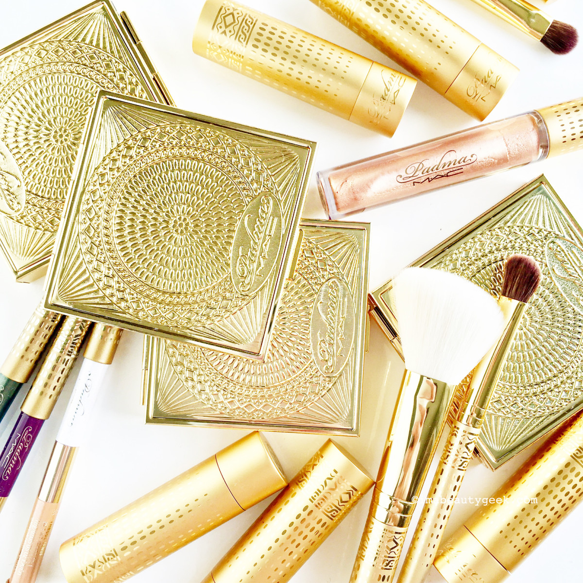 MAC Padma Lakshmi collection compacts, lipsticks, gloss, double-ended liners, and brushes