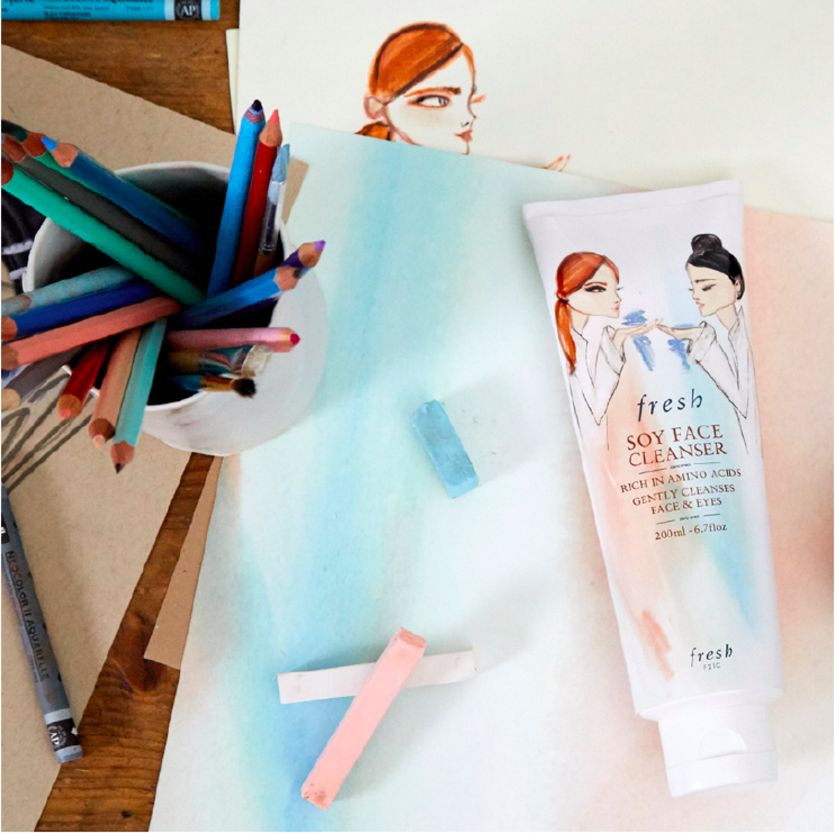 Fresh Soy Face Cleanser illustration in watercolour paint and marker