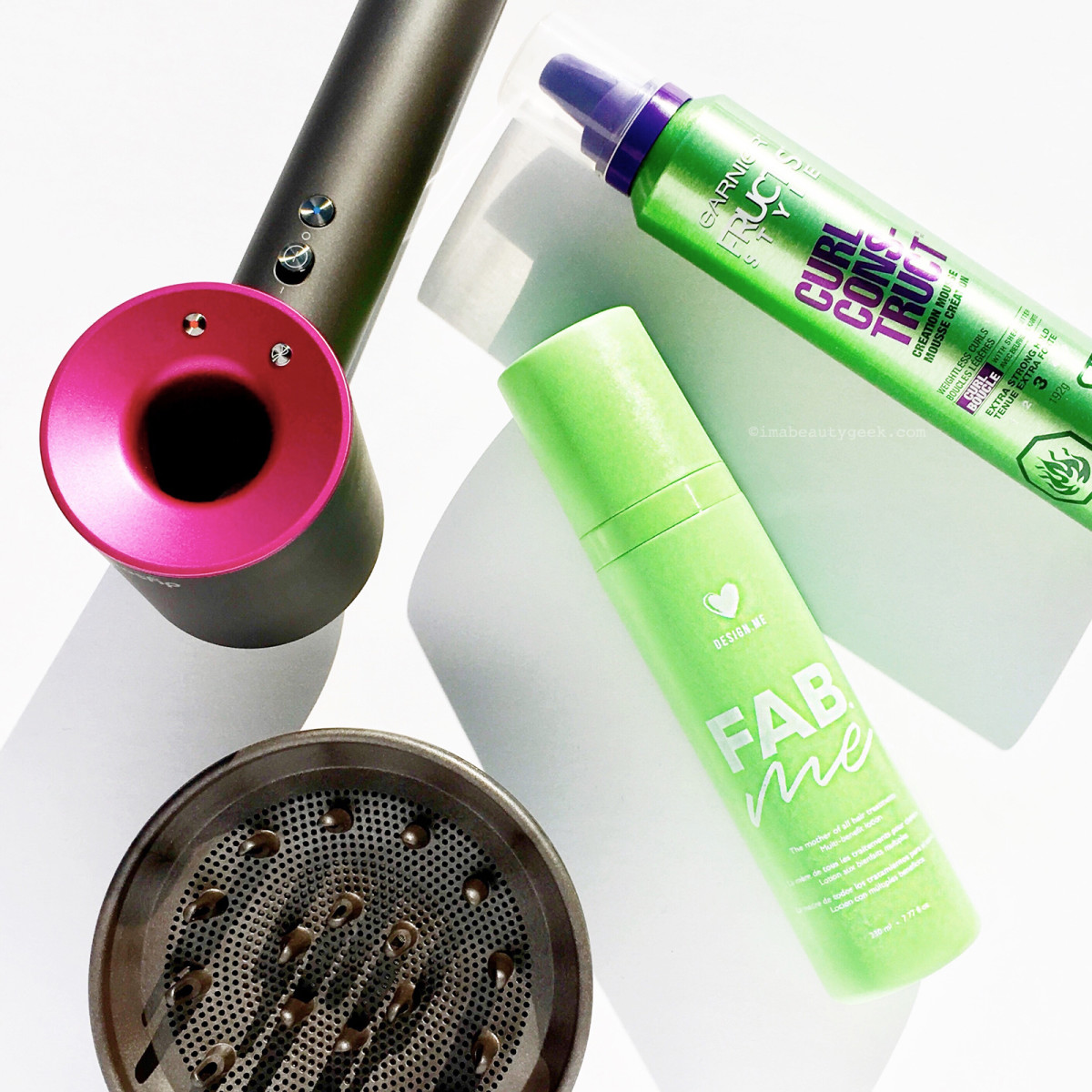 Design.Me FabMe leave-in treatment combines conditioning with styling and protection; applied before my usual Garnier Fructis Curl Construct Mousse and diffused for 5 min, it helped give me great texture and waves.