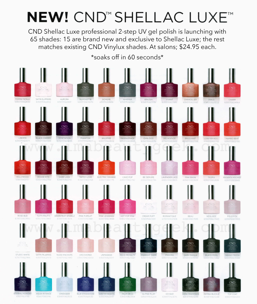 CND Shellac Luxe bottle chart