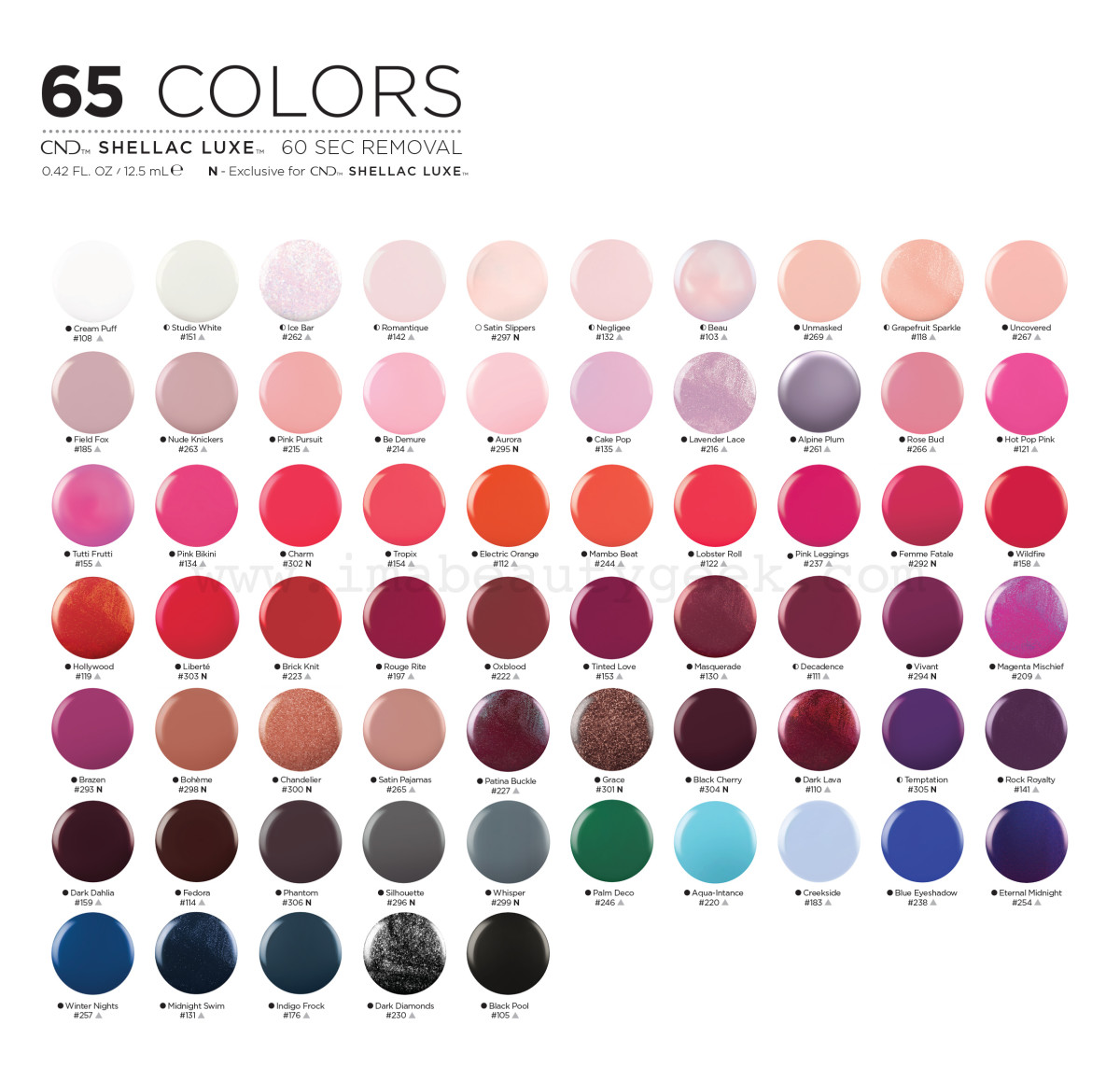 CND Shellac Luxe shade chart; 50 of them match Vinylux hues and 15 are exclusive to this line