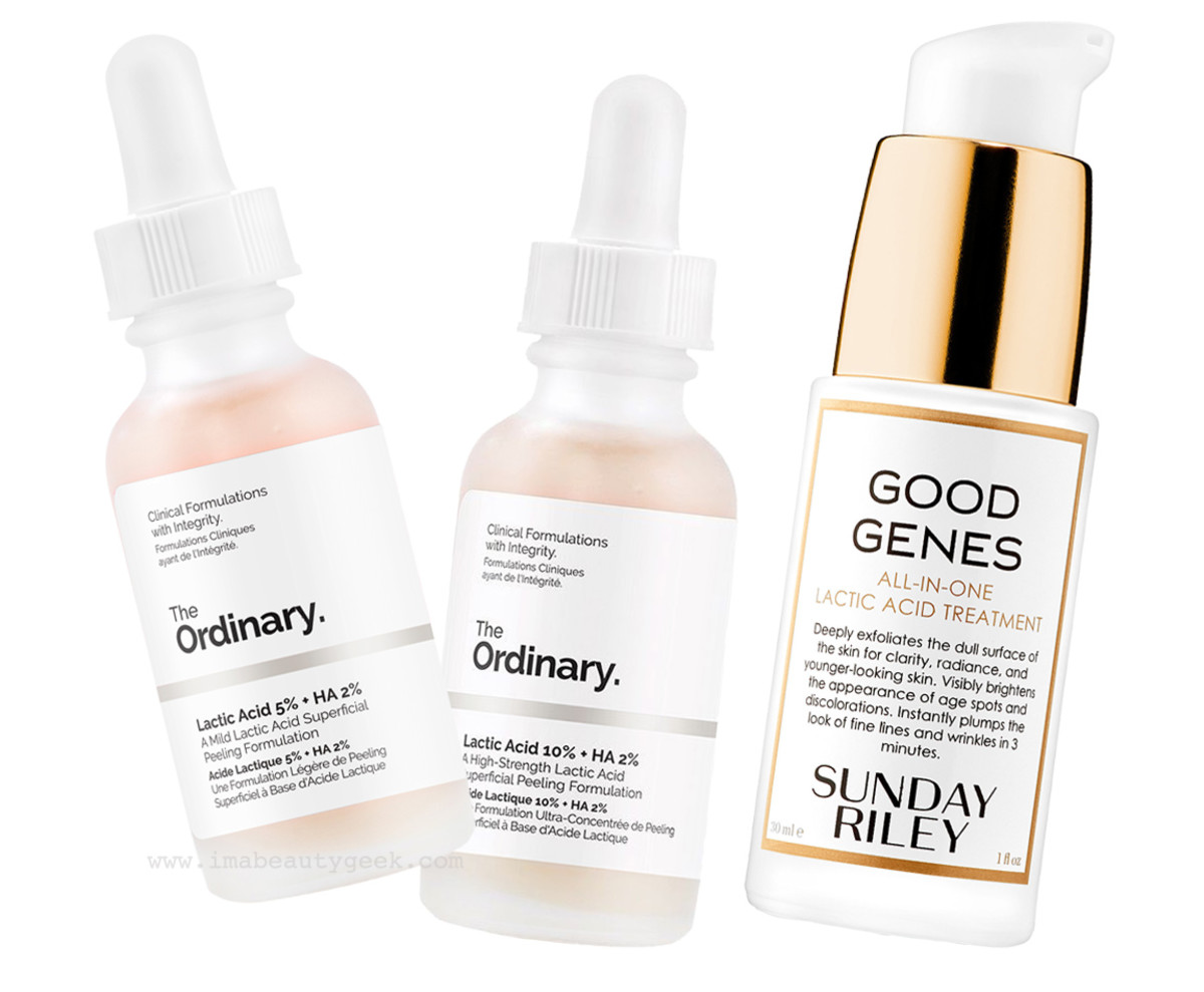 The Ordinary Lactic Acid and Sunday Riley Good Genes All-in-One Lactic Acid Treatment