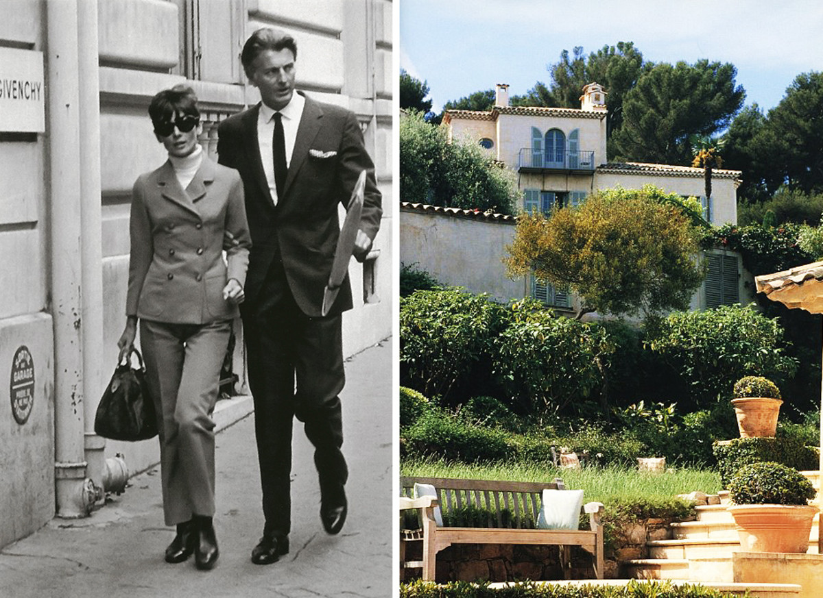 Audrey Hepburn and Hubert de Givenchy; Givenchy's villa, Les Clos Fiorentina in France.