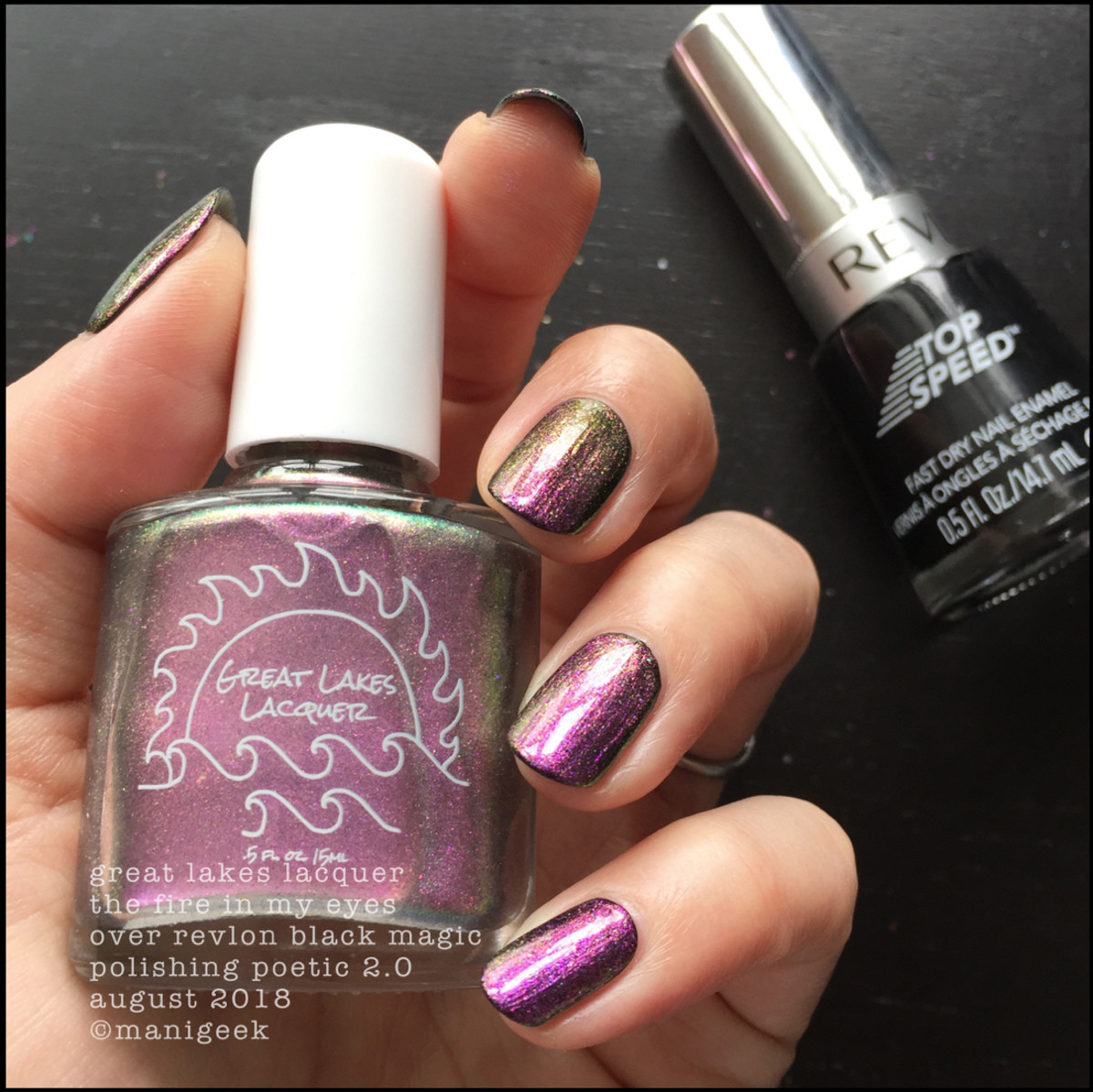 Great Lakes Lacquer The Fire In My Eyes over black 2 _ Great Lakes Lacquer Polishing Poetic 2.0 Swatches & Review