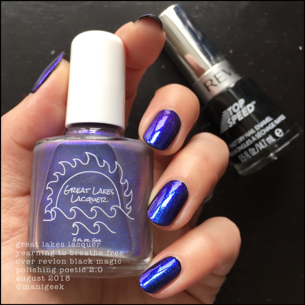Great Lakes Lacquer Yearning to Breathe Free over Black 1 _ Great Lakes Lacquer Polishing Poetic 2.0 Swatches Review
