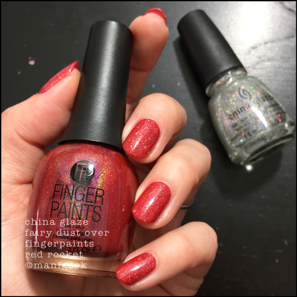 China Glaze Fairy Dust over FingerPaints Red Rocket Summer 2018