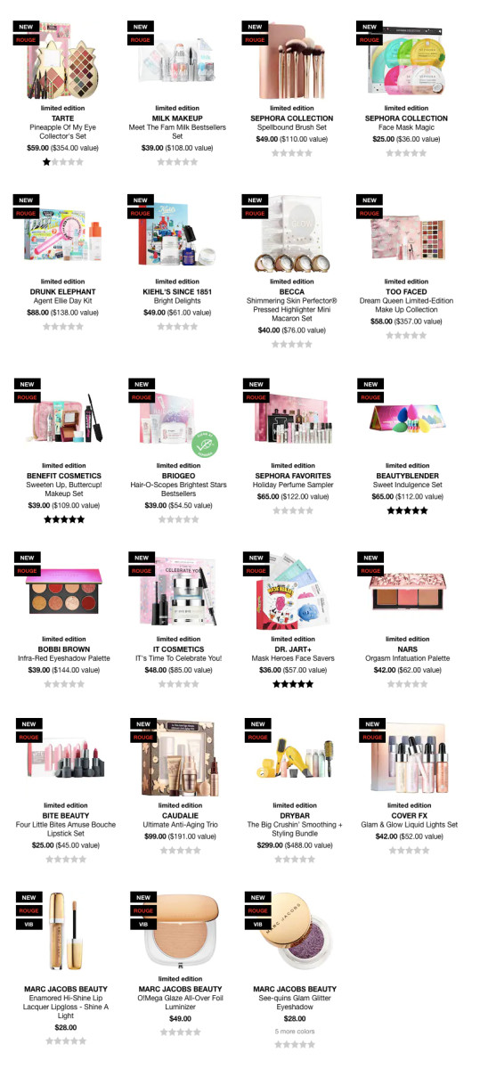 Holiday 2018 gift sets at Sephora USA online