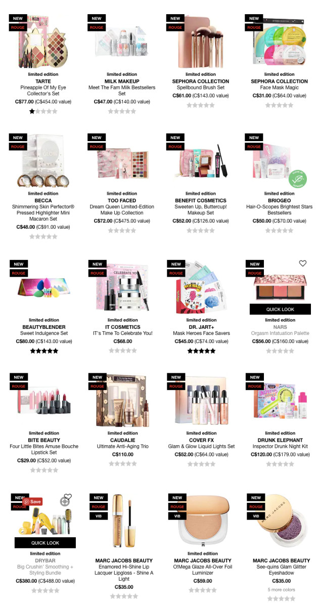 Holiday 2018 gift sets at Sephora Canada online