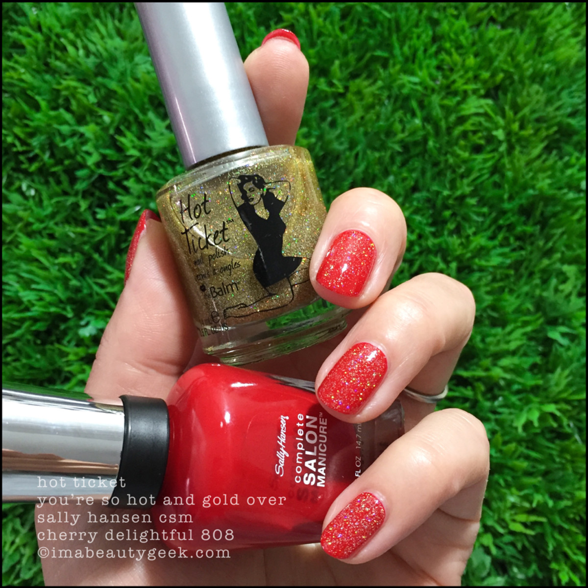 Sally Hansen Cherry Delightful w You're So Hot and Gold