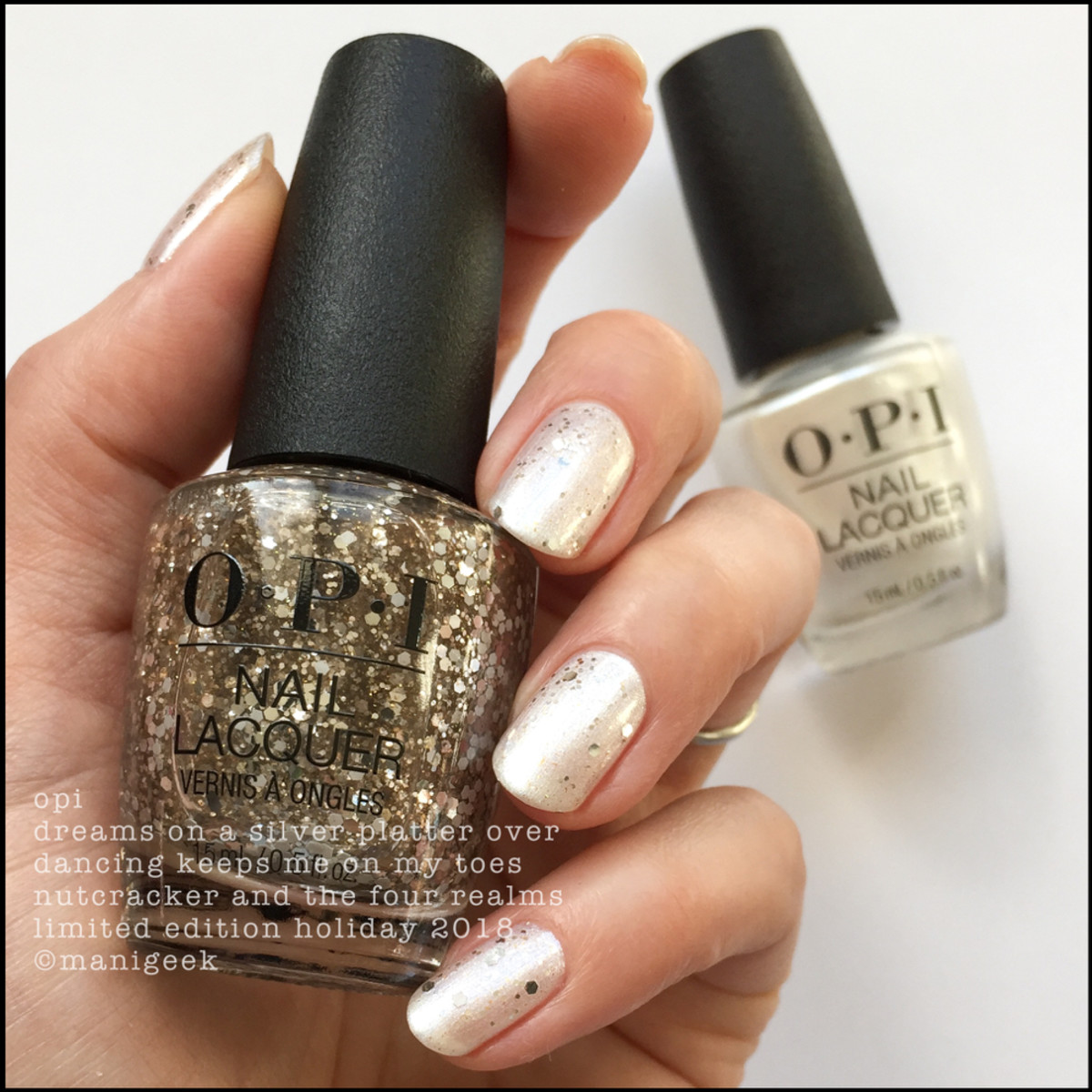 OPI Dreams on a Silver Platter over Dancing Keeps Me On My Toes - OPI Nutcracker Holiday 2018