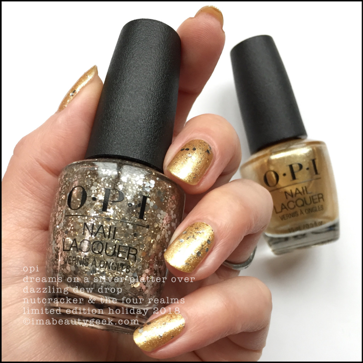 OPI Dreams on a Silver Platter over Dazzling Dew Drop - OPI Nutcracker Holiday 2018