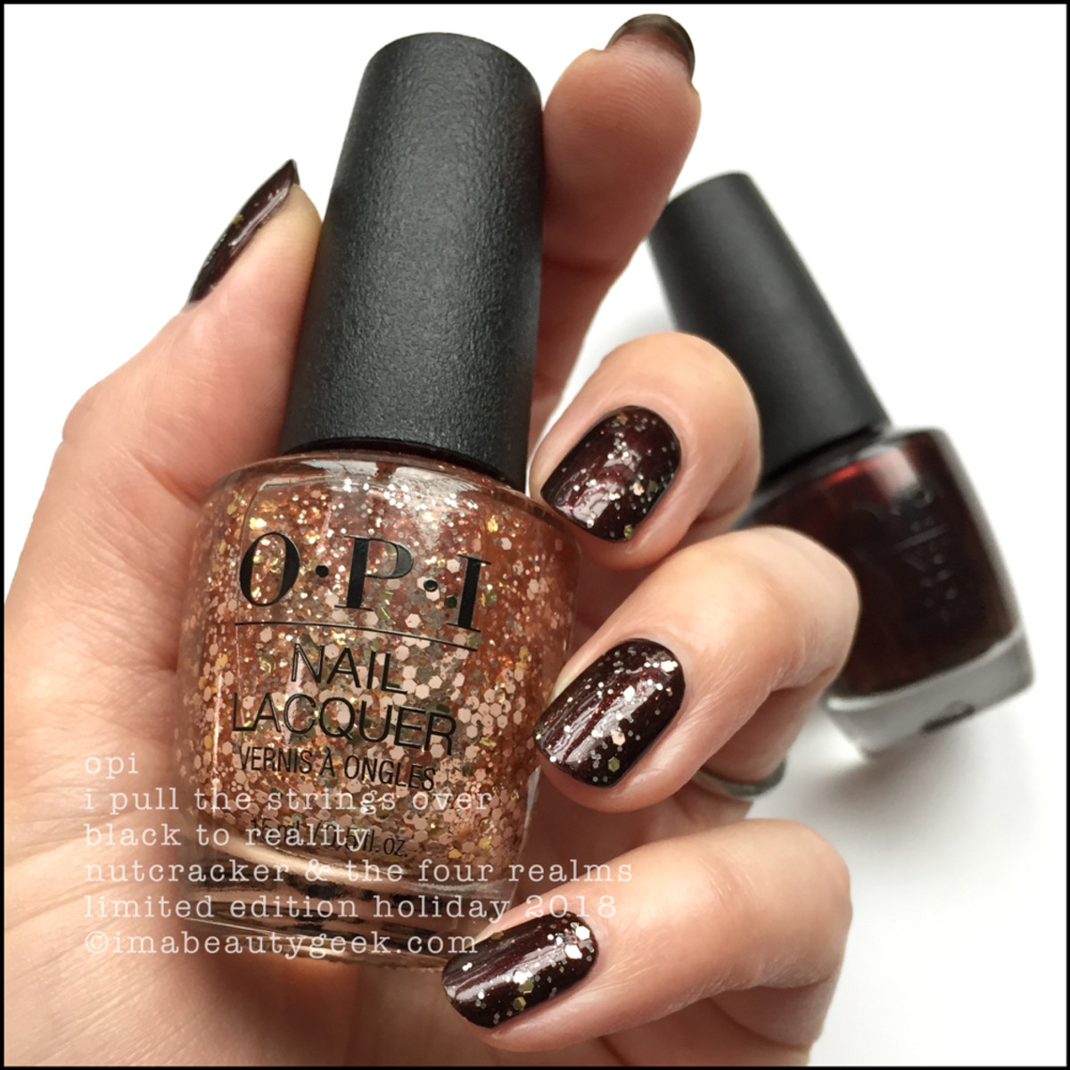 OPI I Pull the Strings over Black to Reality - OPI Nutcracker Holiday 2018