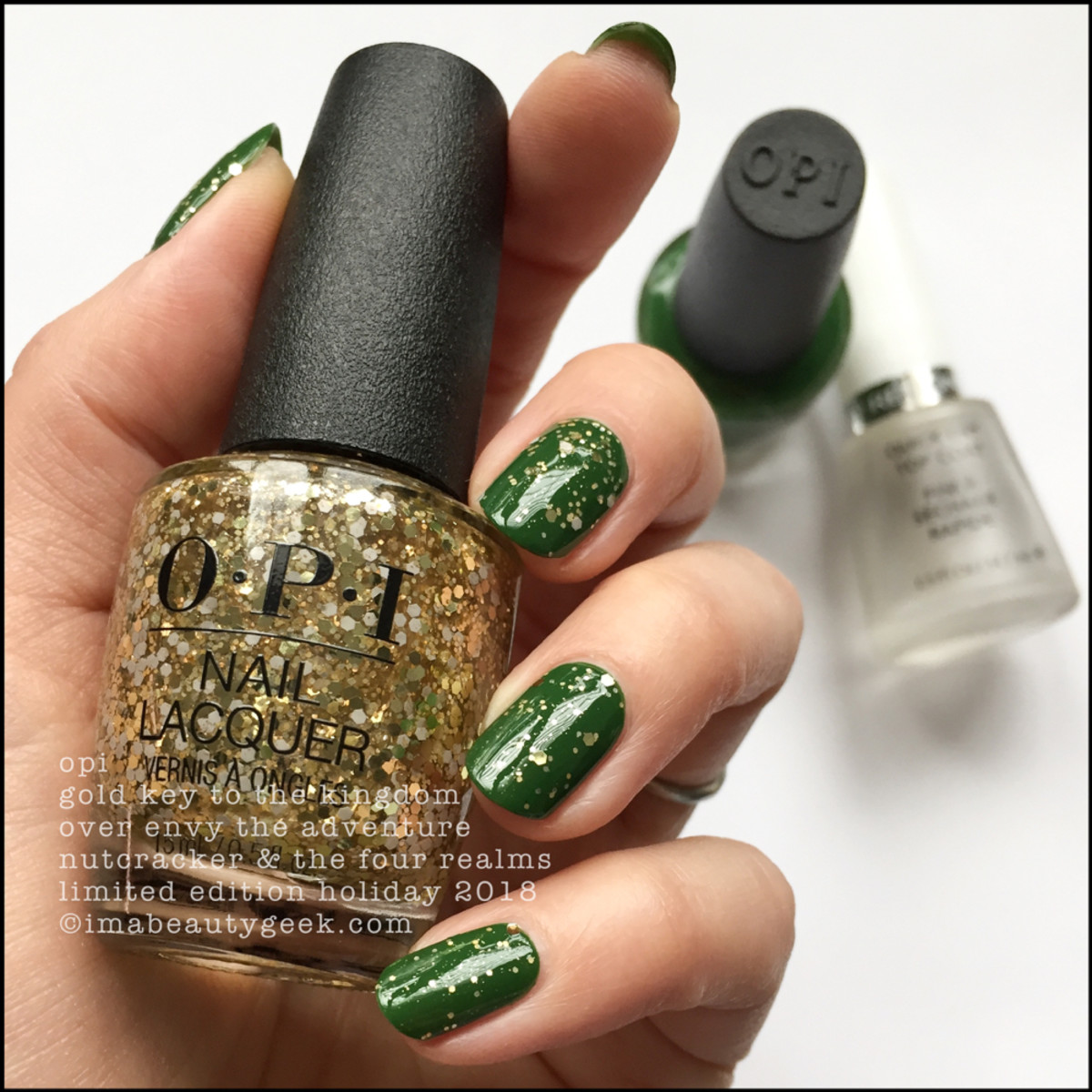 OPI Gold Key to the Kingdom over Envy the Adventure - OPI Nutcracker Holiday 2018