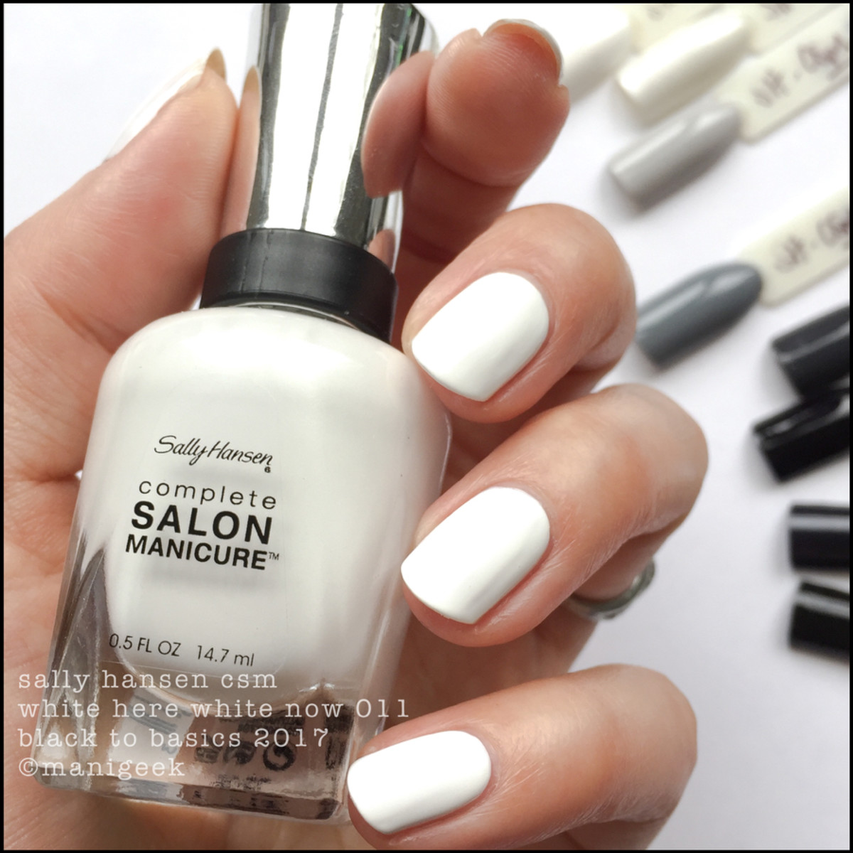 Sally Hansen White Here White Now _ Sally Hansen Black to Basics Collection Swatches 2017