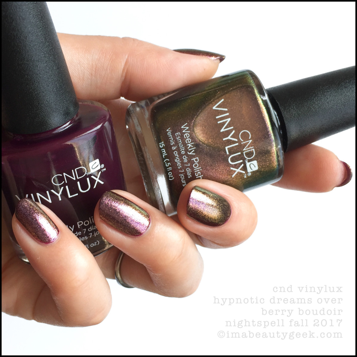 CND Vinylux Hypnotic Dreams over Berry Boudoir - CND Vinylux Nightspell Fall 2017 Collection Swatches