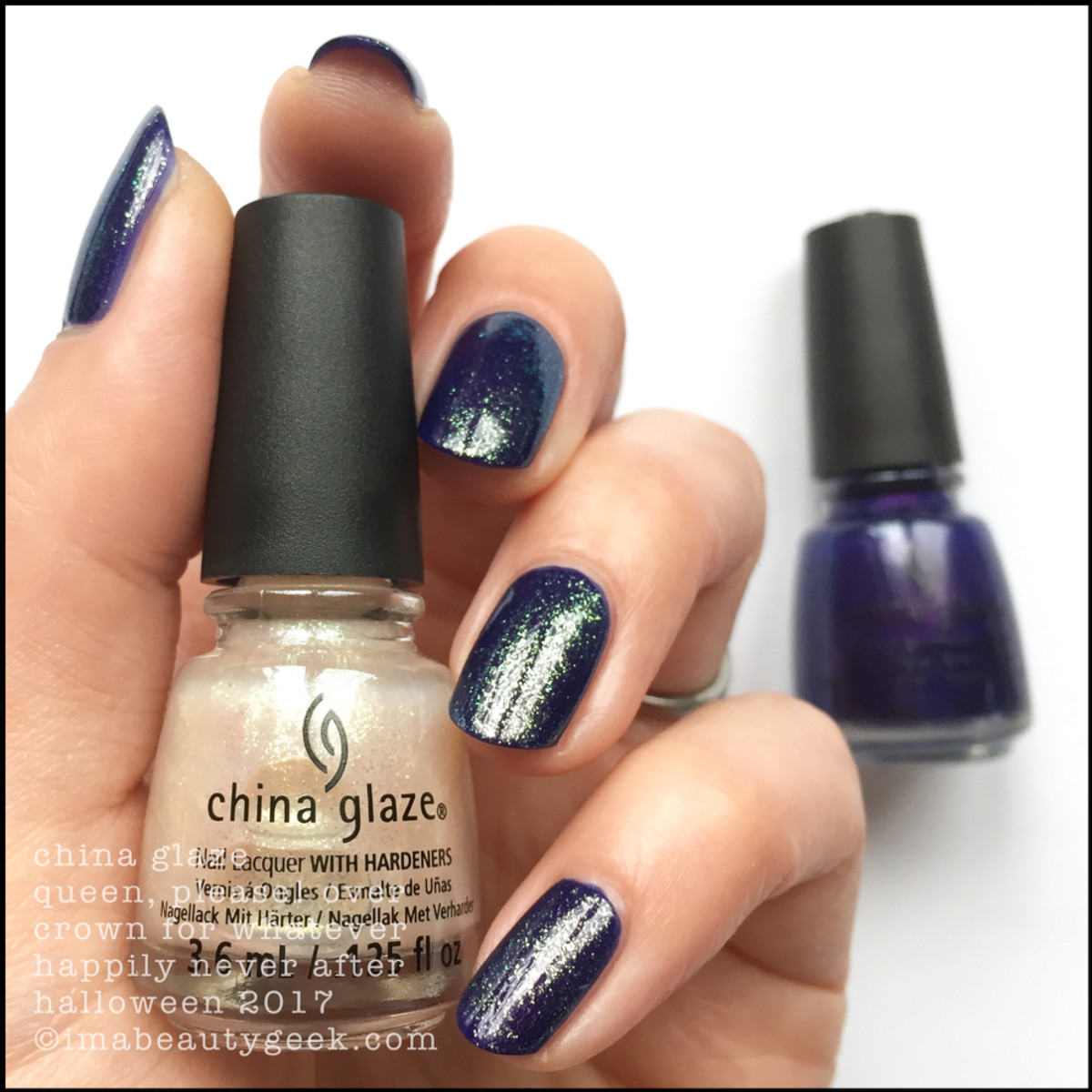 China Glaze Queen, Please! over Crown for Whatever _ China Glaze Happily Never After Collection Halloween 2017