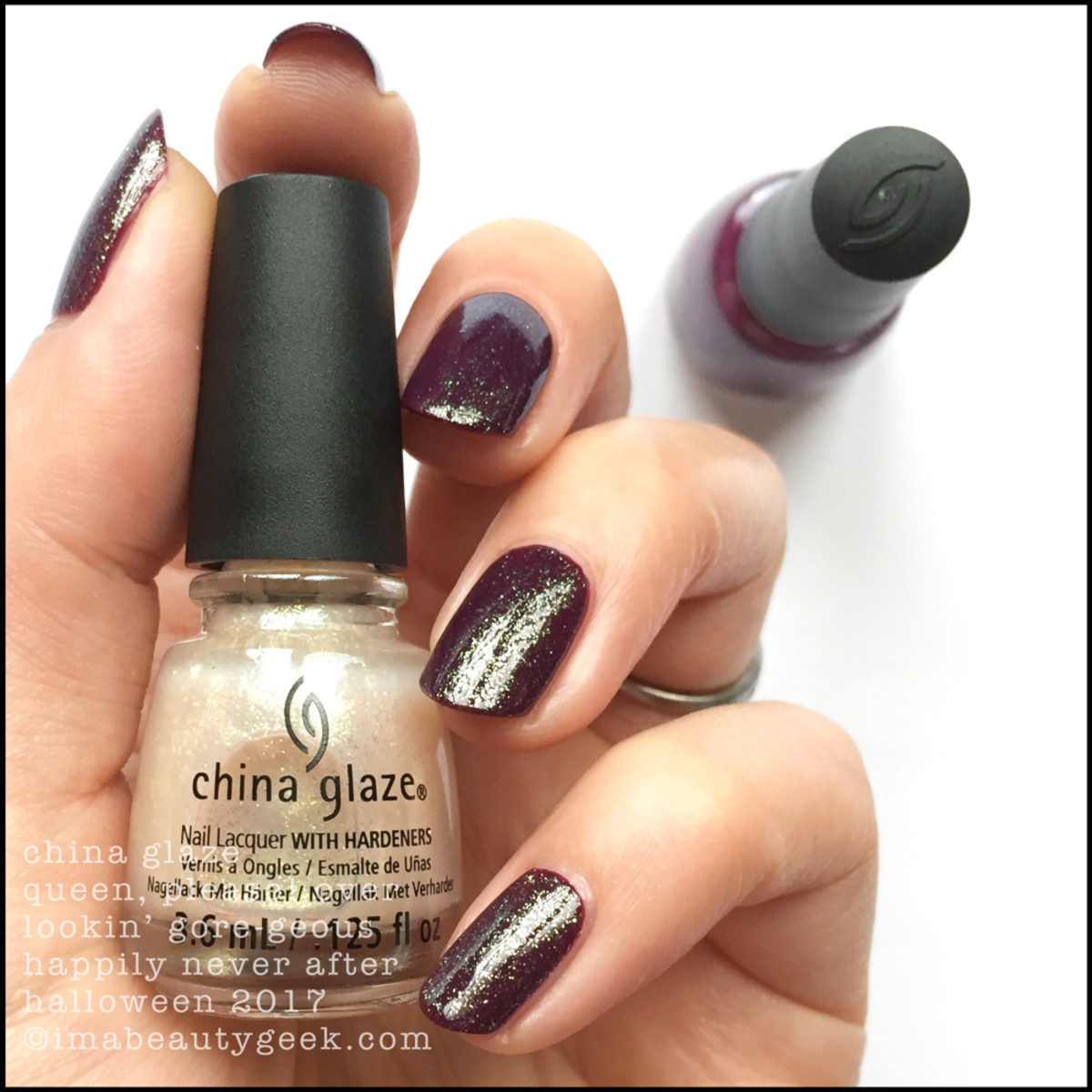 China Glaze Queen, Please! over Lookin' Gore-geous _ China Glaze Happily Never After Collection Halloween 2017