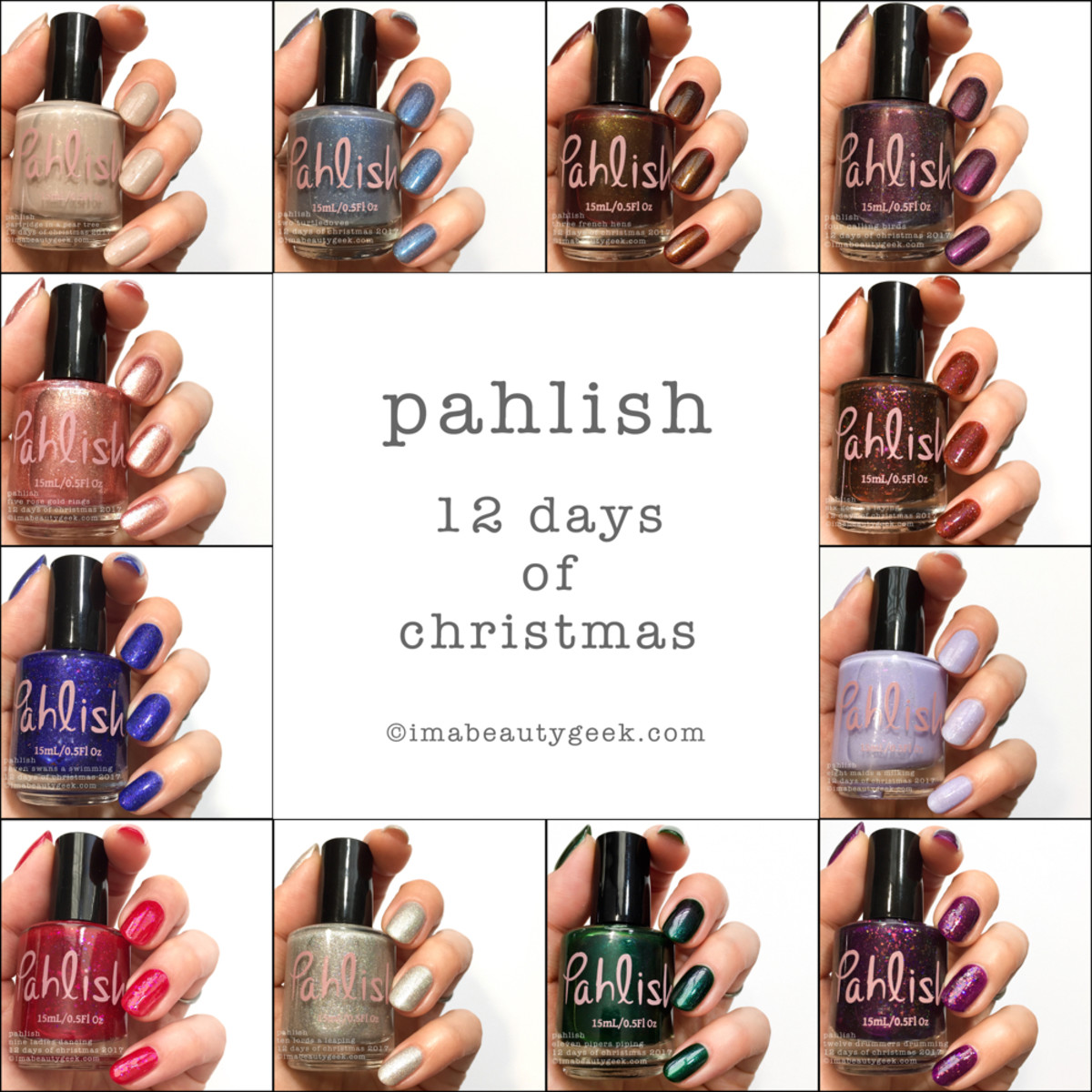Pahlish 12 Days of Christmas 2017 Swatches Holiday