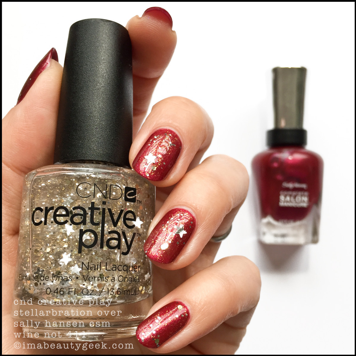 CND Creative Play Stellarbration over Sally Hansen Wine Not