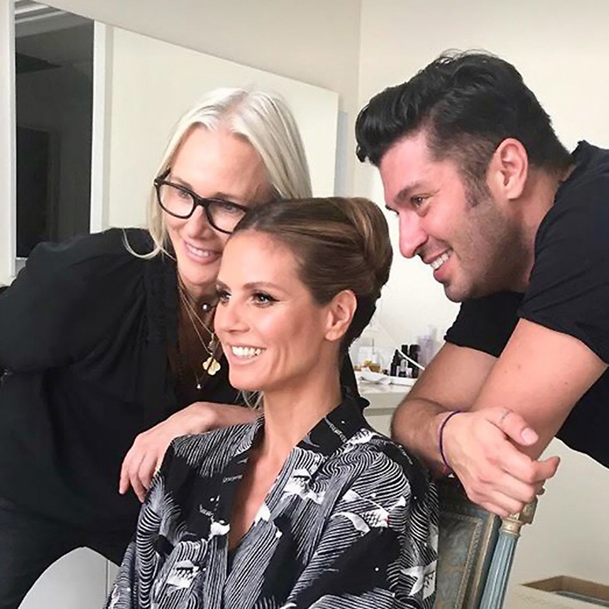 Heidi Klum with Linda Hay and Andy Le Compte at the Beverly Hilton pre-Golden Globes 2018